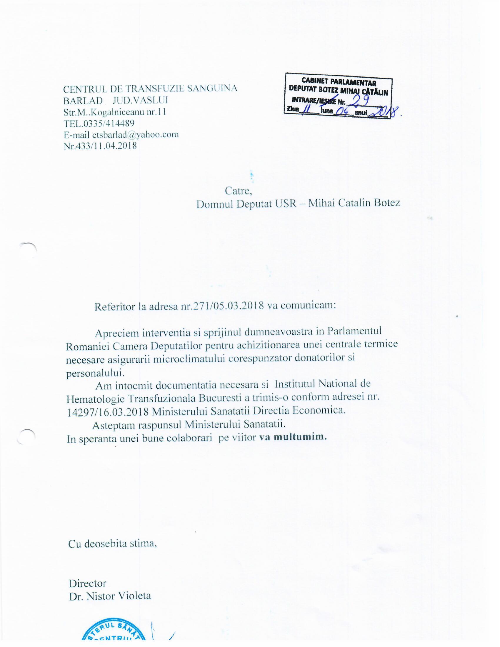 Raspuns Centrul De Transfuzii Mihai Botez